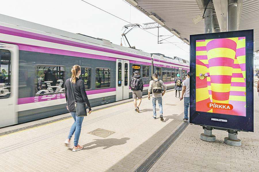 Digitaalinen ulkomainontakampanja Pasilan asemalla